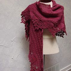 Pattern Hand Knit Shawl with Lace Edging on by TerrificCreations