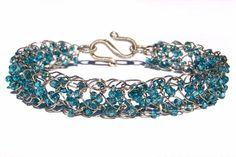 Wire Crochet Bracelet  Blue & Silver by JDaltonDesigns on Etsy, $25.00