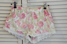 XS~Cottage Rose Sleeping Shorts - Parisian Flea Market Collection~ Women's Pyjamas, Sleepwear, Bloomers, Boxer Shorts Lingerie loungewear by orchardrose. Explore more products on http://orchardrose.etsy.com