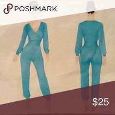 "NEW LIGHT BLUE BODY COM TYPE JUMPSUIT This is a very cute jumpsuit that you can really dress it up or down. Measurements; MEDIUM:27"" inseam, Sleeves 22"", Waist Across 13"". LARGE: 28"" inseam, 13"" waist across, Sleeves 23"" .  Remember this is very stretchable material. fashion step Other"