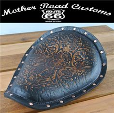 """11x13x1"""" Antique Brown Oak Leather Spring Seat Copper Rivets Harley Sportster Chopper Motorcycle"""