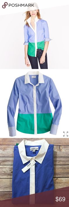 """NWT J.Crew Stretch Perfect Shirt in Color Block Brand new with tags Crafted in lightweight cotton with a hint of stretch for extra comfort, and designed in a bright colorblock Measures pit to pit 20.5""""/ length 27"""" Cotton with a hint of stretch. Tailored fit. Long roll-up sleeves. Covered placket. J. Crew Tops Button Down Shirts"""