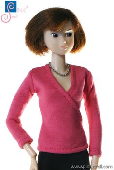momoko doll clothes (pink blouse) by Pinkscroll