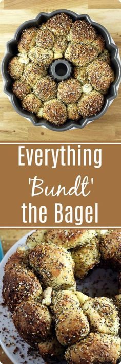Everything Bundt the Bagel | A unique take on cream cheese & bagels wrapped up in a monkey bread! This is the ultimate party food! Find recipe at redstaryeast.com.