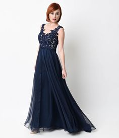 Navy Beaded Lace Mesh Cap Sleeve Long Dress