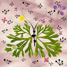 Herbarium Flower Green Butterfly Print par thevysherbarium sur Etsy, $15,00
