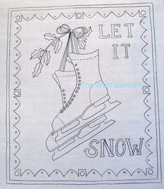 Ice Skate pattern Rug hooking