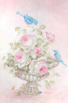 Another great find on Debi Coules Sweet Rose Song Gallery-Wrapped Canvas Pintura Shabby Chic, Shabby Chic Painting, Romantic Shabby Chic, Romantic Roses, Picture Postcards, Rose Art, Arte Floral, Vintage Flowers, Blue Bird