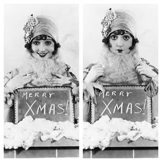 """Silent star Madge Bellamy poses in a white Santa beard in 1926 for a rare pair of Christmas photos. The actress had a long and interesting life. When she was 87 she explained how she was different from many other stars. """"I've avoided all my life the romantic stuff which novels and movies are about. Never went in for that mush. Of course, I've missed what most people would call the ultimate human experience. But then, I've remained my own person, which at my age is a very satisfying state,""""…"""