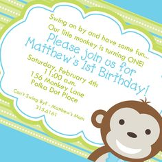 Swinging monkey first birthday invitation by myaclairedesign 1200 little monkey boy first birthday invitation filmwisefo Image collections
