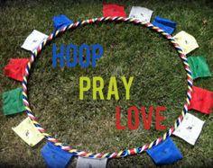 Prayer Hoop - Adult Dance  Exercise Hula Hoop Tibetan Prayer Flags COLLAPSIBLE or Full Size hoola Hoop Pray Love