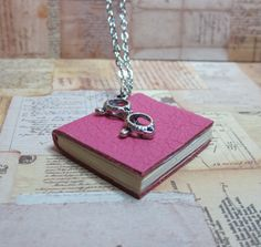 Hot Pink Leather Book Necklace by TheBookCellar on Etsy, $24.00