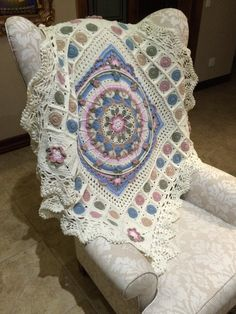 I used Sophie's Garden as a center piece for my design and worked from there, finishing with my own lace border design - Gretha Botma