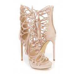 Love! | Nude Strappy Wrap Around Tie High Heels Faux Suede #amiclubwear