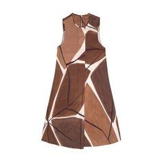 MACRO WABISABI DRESS (20,915 INR) ❤ liked on Polyvore featuring dresses, pattern dress, brown print dress, brown dresses, print dresses and mixed print dress
