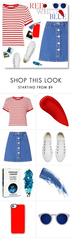 """Red, white, and blue"" by iamthelizardqueen ❤ liked on Polyvore featuring Miss Selfridge, Lipstick Queen, Converse, KEEP ME, Eyeko, Casetify, Illesteva and Polaroid"