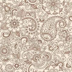 Henna Mehndi Tattoo Doodles Seamless Pattern- Paisley Flowers Vector Illustration Design Elements Stock Photo