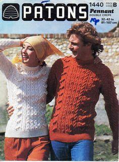 womens mens aran knitting pattern PDF Download aran sweater bobble stitch crew…