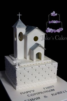 Holy Communion cake: handmade fondant chapel on top of a delicious chocolate mud cake. This is the fourth cake I have made for this lovely family and I am truly honoured to be a part of their special occasions