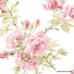 Papel de parede Decoração Floral Origini 26-32 , Wallpaper, Importado, Lavável, Superfície lisa, Branco, Rosa e Verde