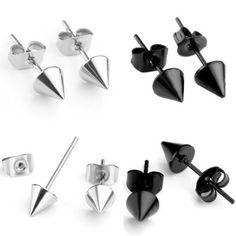 Mens Silver or Black Spike Rivet Cone Stainless Steel Stud Earrings, Single or Pair by WRCDesigns on Etsy