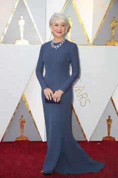 Hollywood is in the throes of a cultural sea change, as reflected with black attire on the Golden Globes red carpet. But what will change look like at the Oscars? Stay tuned to find out. Helen Mirren, Hollywood Red Carpet, Hollywood Glamour, Red Carpet Dresses, Blue Dresses, Oscars, Celebrity Dresses, Celebrity Style, Oscar Fashion