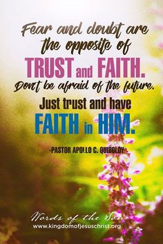Fear and Doubt is the opposite of Trust and Faith. Don't be afraid of the future. Just trust and have Faith in Him. Have Faith, Faith In God, Spiritual Enlightenment, Spirituality, Son Of God, Dont Be Afraid, Bible Scriptures, Revolutionaries, Apollo