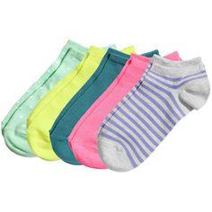 H&M 5-pack ankle socks ($6.38) ❤ liked on Polyvore featuring intimates, hosiery, socks, purple, h&m socks, cotton socks, tennis socks, ankle socks and short socks