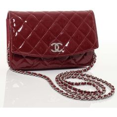 CHANEL Patent Quilted Brilliant Wallet On Chain WOC Red ❤ liked on Polyvore
