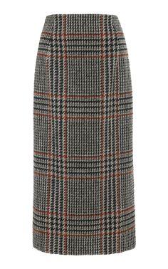 Plaid Wool-Blend Midi Skirt by Oscar de la Renta Skirt Outfits, Cute Outfits, Wool Blend, Midi Skirt, Skirt Pants, Autumn Fashion, Women Wear, Plaid, Fashion Design