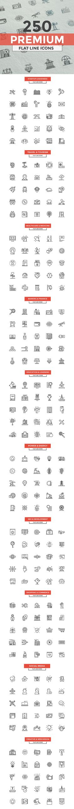Set of modern Line Design icons.Creative concepts and design elements for mobile and web applications.Simple mono linear pictogram pack. Vector Illustration Collection covers following themes 1. Banking and Finance2. Start up and Business3. Seo and …