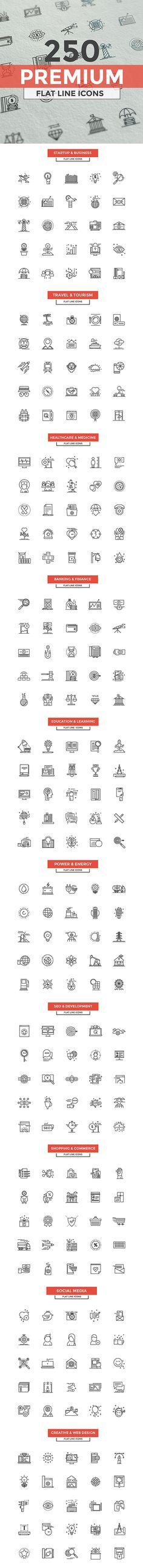 Set of modern Line Design icons on Behance