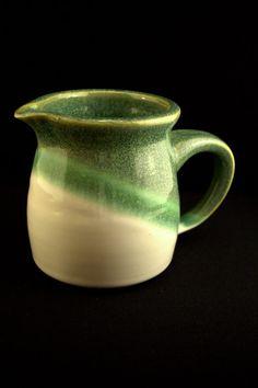 Small Green & White Porcelain Cream Pitcher