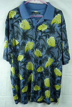 Greg Norman Play Dry Golf Short Sleeve Hawaiian Print Shirt Size 2XL | eBay