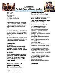 Despacito Song Lyrics & Activities in Spanish - Luis Fonsi & Daddy Yankee Musica Spanish Song Lyrics, Spanish Songs, Spanish Class, Learning Spanish, Despacito Lyrics, Famous Song Lyrics, Spanish Activities, Music Activities, Literatura