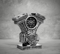 From table top to desk or bookshelf to mantle, this clock represents your passion every moment of the day. | Harley-Davidson Resin Engine Clock
