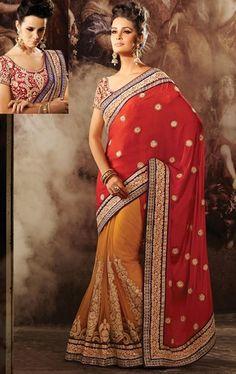 Picture of Magnificent Red and Golden Orange Designer Saree