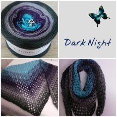 """Tuch aus Farbverlaufsgarn """"Dark Night"""" von 500 m bis 1500 m Lauflänge, 3 bis 5fädig ab 6,90 € unter www.garnstube.de"""