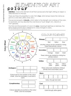 ArtBridges | Elements of Art: Colour Elements Of Art Color, Intro To Art, Elements And Principles, Art Worksheets, Art Curriculum, Teacher Tools, Learning Resources, Teaching Art, Color Theory