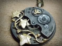 Large Pocket Watch Steampunk Necklace Grungy Vintage Brass Bee Recycled Jewelry