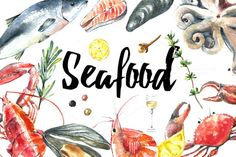 Watercolor seafood set. by Vikeriya on @creativemarket