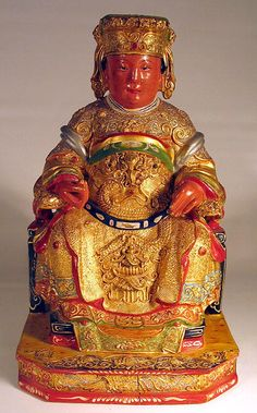 chinese wood carvings | CHINESE CARVED WOOD FIGURE OF EMPEROR ON THRONE QING For Sale ...