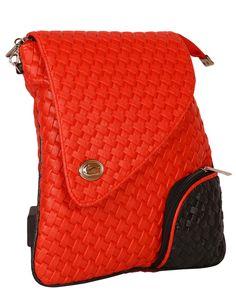 PurpleYou red color weaving design sling bag made of polyurethane material.