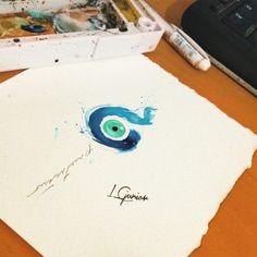Um pouco de proteção • olho grego #olho #olhogrego #proteção #tattoo #tatuagem #watercolor #aquarela #aquarelatattoo #eye #lcjunior