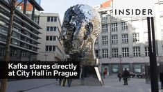 Artist David Černý created a 45-ton rotating sculpture of Franz Kafka's head, which faces City Hall in Prague.