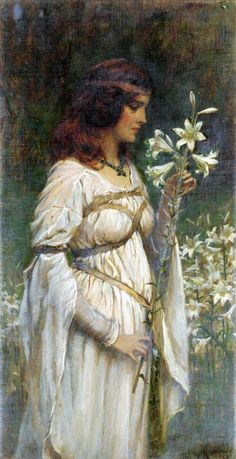 ⊰ Posing with Posies ⊱ paintings of women and flowers - James Doyle Penrose   Innocent Beauty, 1903