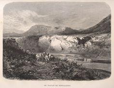 """Agrigento, Montallegro, 1877 Rives du platani pres de Montallegro, anonimo, xilografia, tratta da """"Italie"""" di J.Gourdault, 246x185,"""