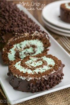 This Mint Chip Cake Roll is filled with mint flavor and is SO easy to make!
