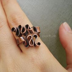 Adjustable Copper Ring Curling Ribbon Artisan Wire Scribble Ring