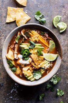 Crockpot Spicy Chicken Tortilla Soup | halfbakedharvest.com @hbharvest
